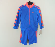 New Adidas Baby Boys Toddler IconTracksuit Set Jacket Pants Blue Orange SZ 6T 7T