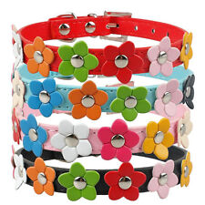 Cute Flower Studded Dog Collar Coller Pu Leather Pet Puppy Cat Neck Strap