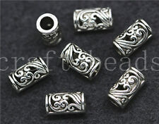 100/500pcs Antique Silver Exquisite Cylinder Jewelry Charm Spacer Beads 9x5mm