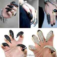 Hot Punk Gothic Crystal Rhinestone Claw Ring Nail Paw Talon Finger Full Tip Gift