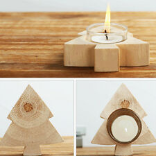 Manual Pine Wood Votive Candle Holder Heart Tree Tealight Candlestick Home Decor