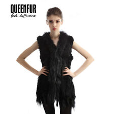 Real Knit Rabbit Fur Vest Winter Nature Raccoon Fur Collar Gilet Women Waistcoat