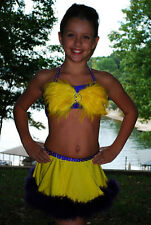 Exquisite yellow purple feather custom competition dance costume CM CM/L