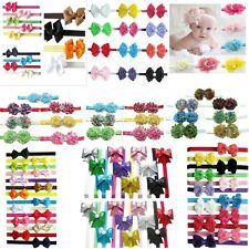 6/7/9/10/12/13/14x Lot Girl Baby Hair Bow Flower Clip+Stretch Headband Mix Color