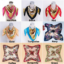 "Hot Women Big Square Silk-like Satin Large Scarf Wrap 35x35"" Printing shawl"