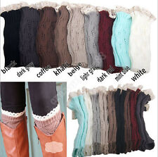Fashion Womens Crochet Knit Lace Trim Legs Warmers Cuffs Toppers Boot Socks