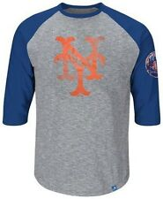 New York Mets Majestic Home Stretch Mens Gray Raglan Shirt Big & Tall Sizes