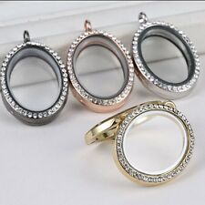 Living Floating Memory Charm Crystal Glass Locket Open Pendant Necklace No Chain