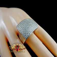 MEN'S ITALIAN SILVER 0.45 CTW GENUINE  DIAMOND ENTERNITY WEDDING PINKY RING BAND