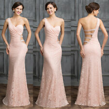 New One Shoulder Bridesmaid Cocktail Party Ball Gown Formal Evening Long Dresses