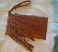 BROWN GOLD METAL ACCENTS FAUX LEATHER PADDED FRINGE CLUTCH WALLET PURSE STRAP