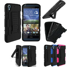 Hybrid Armor Holster Belt Clip Hard Case Cover Stand For HTC Desire 626 626S NEW