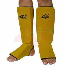 4Fit™ Inc. Shin Instep Protectors, Guards Pads Boxing, MMA, Muay Thai YELLOW