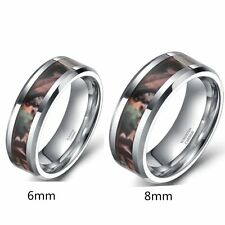 Tungsten Ring Mens Women's Forest Real Tree Camouflage Camo Wedding Band 6mm 8mm