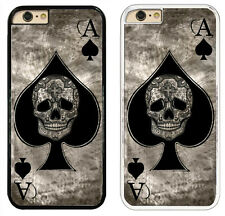 Ace Of Spades Tattoo Skull Card Black & White Hard Phone Case Cover for iPhone