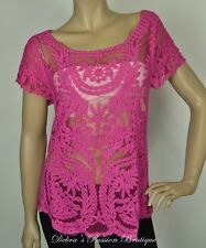 *ON SALE* Size Small Miss Sparkle Layer Sheer Lace Top - Fuchsia - One Size