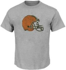 Cleveland Browns NFL Majestic Mens Distressed Helmet Shirt Gray Big & Tall Sizes