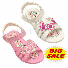 GIRLS SUMMER KIDS CHILDREN FLAT SANDALS INFANTS VELCRO BEACH PARTY SHOES 11-2