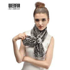 Queenfur Real Rex Rabbit Fur Scarf Natural Rabbit Fur Scarves Women Warm Shawl