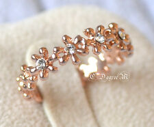 18K Rose Gold GP Flower Thumb Pinky Ring All Size Stackable Celeb Style