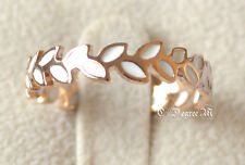 18K Rose Gold GP White Leaves Thumb Pinky Ring All Size Stackable Celeb Style