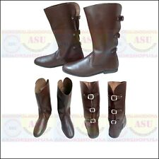 Medieval Leather Boots Role Play Re-enactment Costume Buckled Boot Mens Shoes