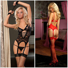 Lace Dress+ G string+Handcuff+Garter Belt woman Sexy Lingerie exotic body doll