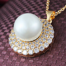 Fashion 18K Gold GF Swarovski Crystal Pearl Bridal Pendant Necklace