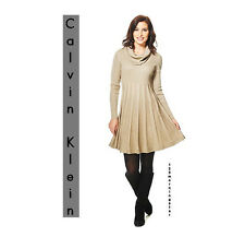 CALVIN KLEIN NEW Gold Fit & Flare Long Sleeve Acrylic Mini Sweater Dress M