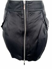 New Womens Karen Millen Black SILK Mini Skirt UK Size 8 EU 36 Silver Zip Sporty