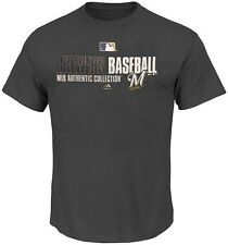 Milwaukee Brewers Majestic Team AC On Field Mens Charcoal Shirt Big & Tall Sizes