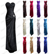 New Satin Formal Prom Party Ball Gown Evening Bridesmaid Dresses Stock Size 6-20
