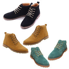 Yellow British Mens Casual Lace Suede Ankle Boots Loafers Shoes Sneakers WS