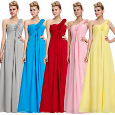 SIZE 2~24W FREE SHIP One Shoulder Chiffon Bridesmaid Dress Cocktail Prom Gown GK