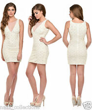 SEXY CREAM HAND BEADED FULL SEQUIN BODYCON EVENING COCKTAIL PARTY DRESS S M L XL