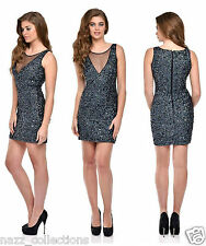 SEXY GREY HAND BEADED FULL SEQUIN BODYCON EVENING COCKTAIL PARTY DRESS S M L XL
