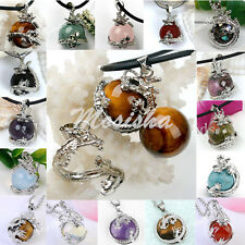 1pc Chinese Dragon Wrap Ball Jasper Gemstone Quartz Pendant Bead for Necklace