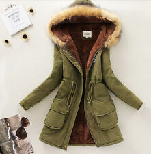 Millitary Womens Hooded Slim Parka Thicken Winter Coat Jacket Outerwear Overcoat