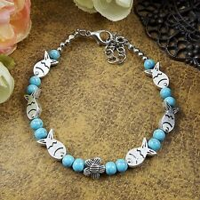 Hot Silver Jewelry Beads Bracelet Fish Shape Turquoise Tibetan Vintage Chains
