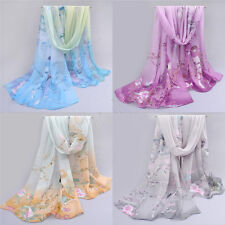 New Womens Ladies Chiffon Silk scrawl Long Soft Wrap Shawl Scarf Scarves 49