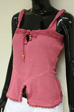 Sonneti womens strappy vest summer party tie detail crochet top pink size 10