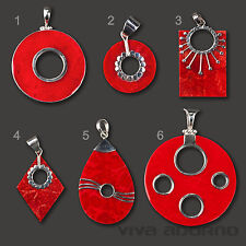 Pendant 925 Silver and Coral red hand made Drop Rhombus Sun AS40