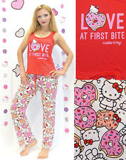 "NWT Sanrio Hello Kitty ""LOVE at First Bite"" Top and Pants Pajama Set S,M,L,XL"