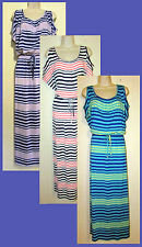 Womans Plus 3X Knit Cold Shoulder Striped Maxi Full Length Dress New in Package