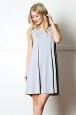 Tunic flowing tank top Sleeveless casual mini dress polyester blend solid top