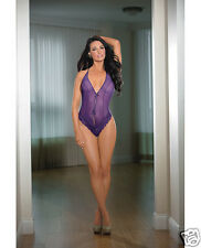 Escante Sheer & Strappy Back Teddy w/Lace Midnight Purple O/S Lingerie