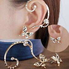 1Pair Hot Popular Women Butterfly Ear Cuff Stud Crystal Rhinestone Earrings Gift