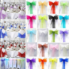 1/10/25/50/100PC Organza Chair Cover Bow Sash Wedding Party Banquet Decoration