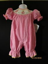 BUNNY SMOCKED PINK BUBBLE EASTER BOUTIQUE REMEMBER NGUYEN SZ. 12 & 24 MONTHS