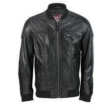 Mens Real Soft Wax Sheep Leather Bomber Fitted Smart Casual Retro Biker Jacket